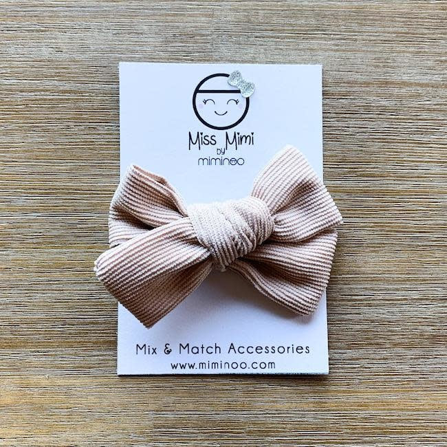 miss mimi by miminoo beige corduroy hair bow - alligator clip