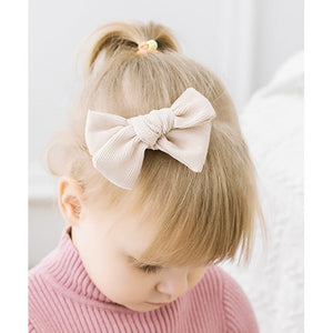 miss mimi by miminoo baby pink corduroy hair bow - alligator clip