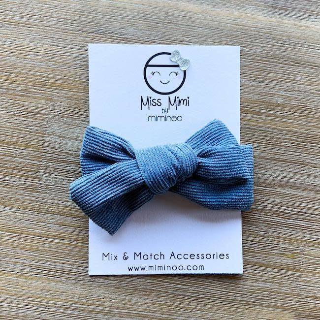 miss mimi by miminoo denim blue corduroy hair bow - alligator clip