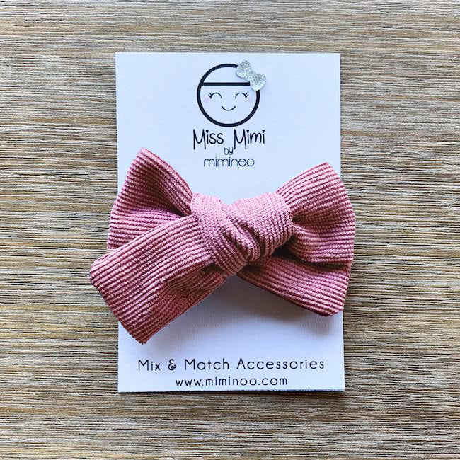 miss mimi by miminoo dusty pink corduroy hair bow - alligator clip
