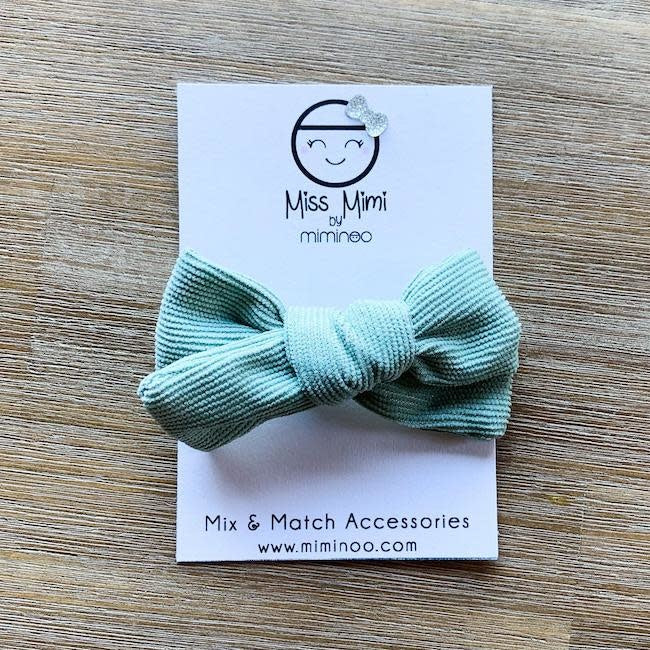 miss mimi by miminoo sage corduroy hair bow - alligator clip