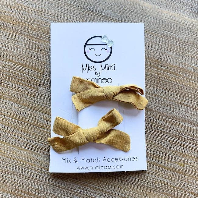 miss mimi by miminoo hair clip bows 2pk - mustard