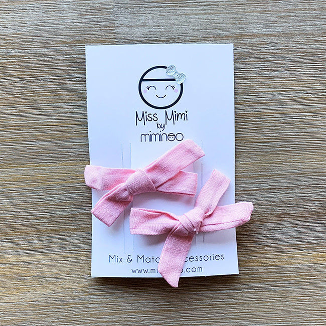 miss mimi by miminoo hair clip bows 2pk - pink