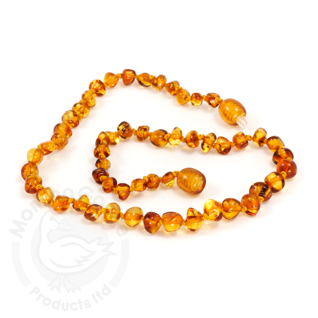 momma goose honey amber child necklace 15""