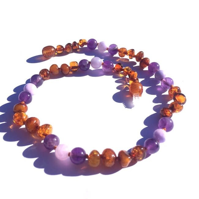 momma goose violet amber + gemstone baby necklace
