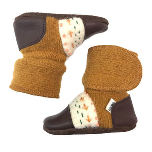 nooks design felted wool booties - embroidered golden spruce