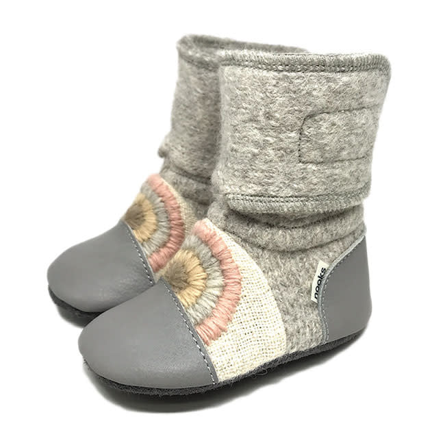 nooks design felted wool booties - embroidered rainbow moon