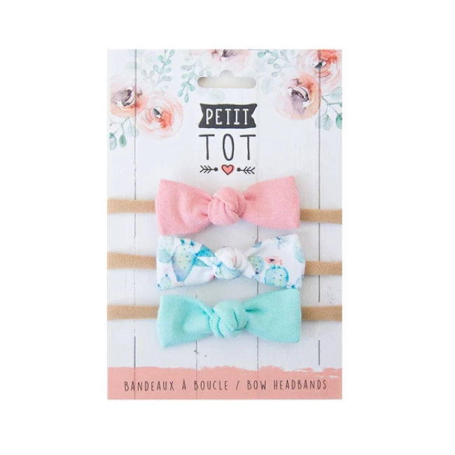 petit tot jersey bows on headbands - dusty rose, cactus + mint 3pk
