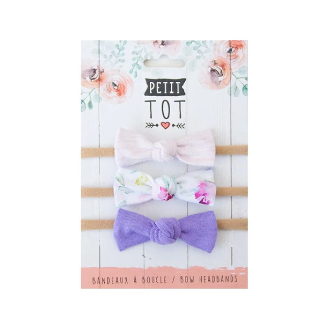 petit tot jersey bows on headbands - lilac, purple floral + lavender 3pk