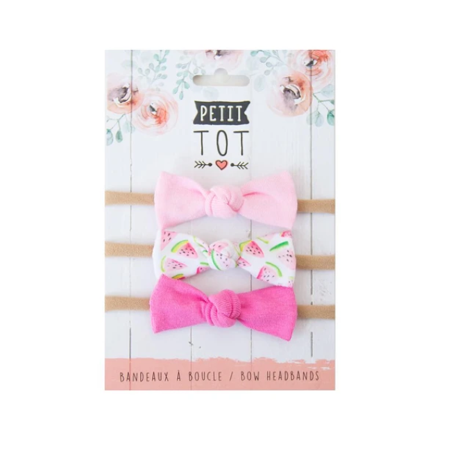 petit tot jersey bows on headbands - sweet pink, watermelon + bubblegum pink 3pk