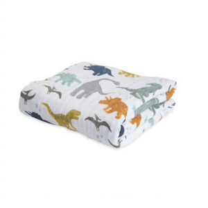 little unicorn cotton muslin baby quilt - dino friends