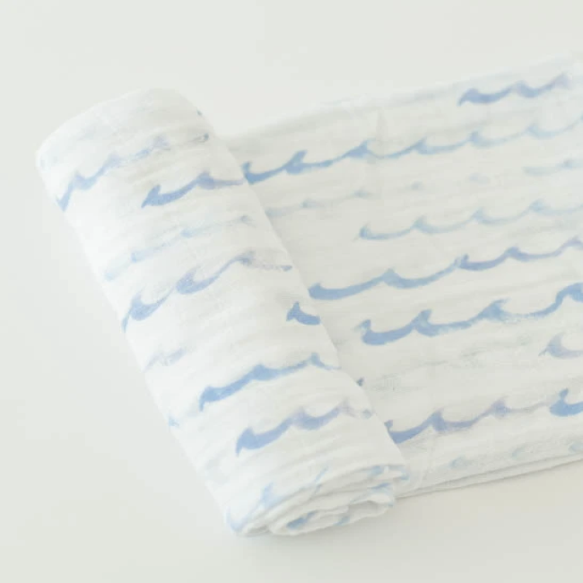little unicorn cotton muslin swaddle blanket - high tide