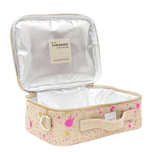 soyoung raw linen lunch box - fuchsia + gold splatter