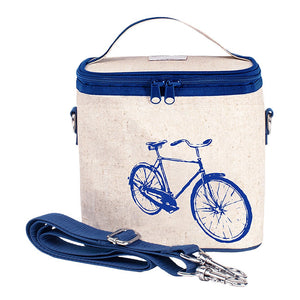 soyoung raw linen large cooler bag - blue bicycle