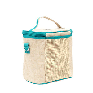 soyoung raw linen small insulated cooler bag - teal narwhal