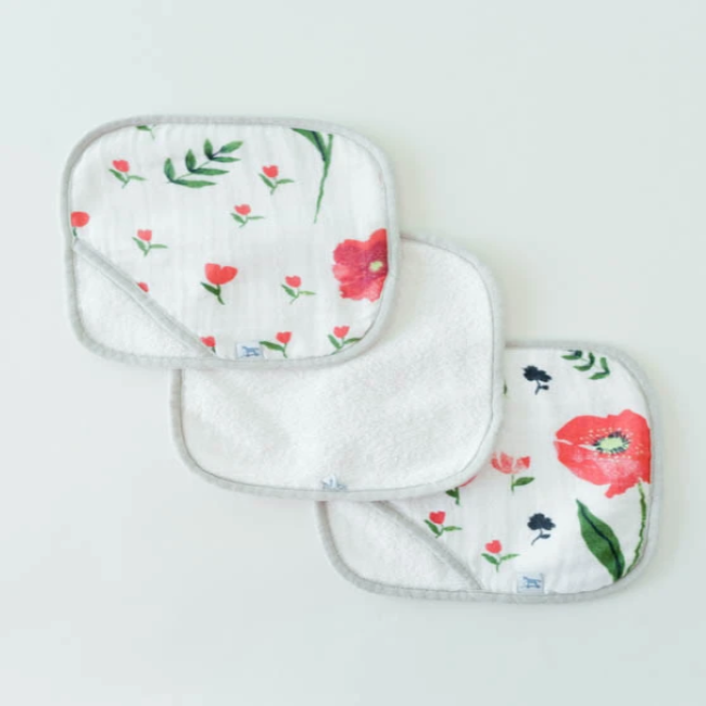 little unicorn wash cloth set - summer poppy