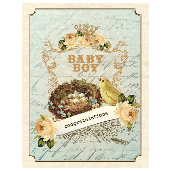 yellow bird paper greetings - vintage nest boy baby card