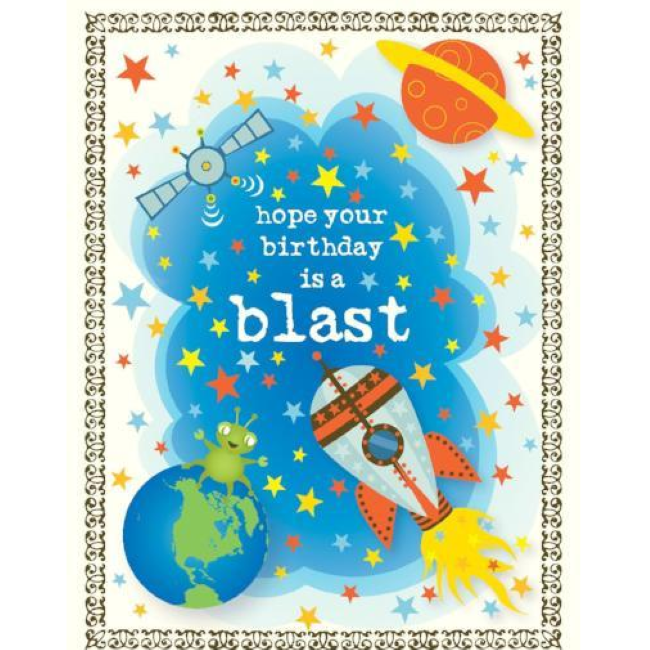 yellow bird paper greetings - space blast birthday card