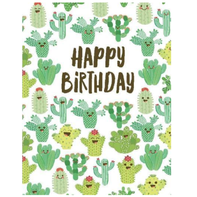 yellow bird paper greetings - multi cactus card