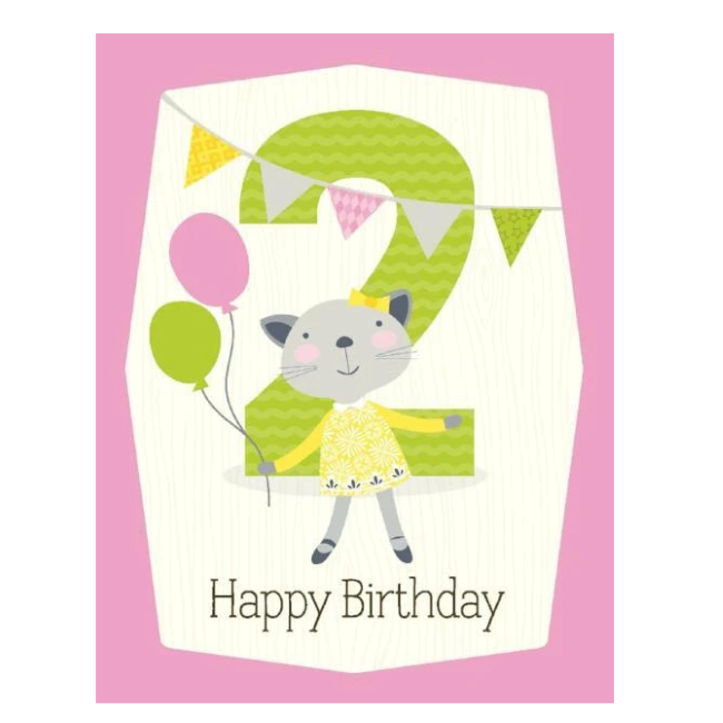 yellow bird paper greetings - girl 2nd birthday card
