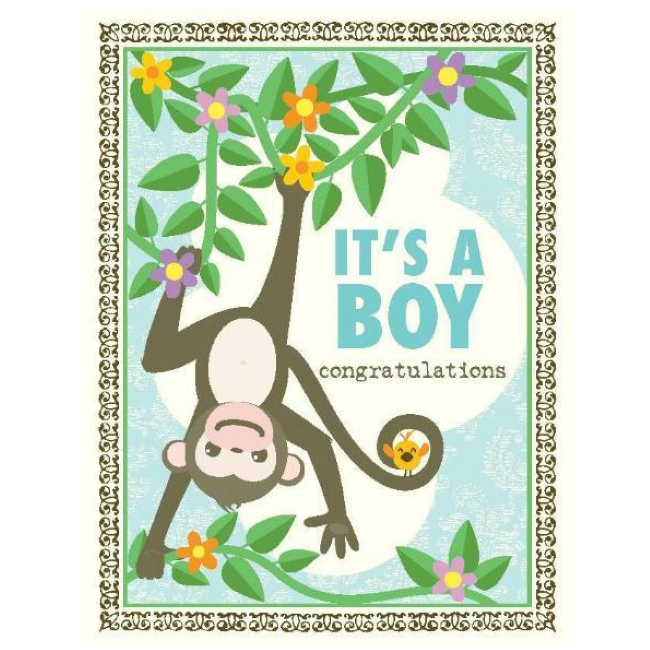 yellow bird paper greetings - monkey boy baby card