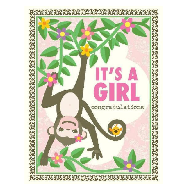 yellow bird paper greetings - monkey girl baby card