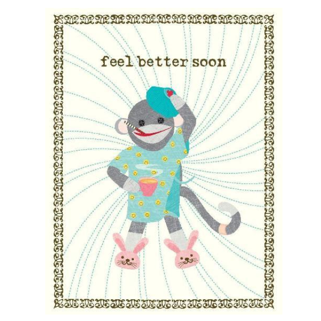 yellow bird paper greetings - sock monkey get well card