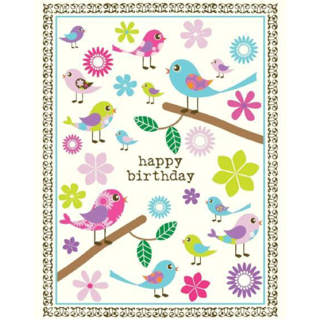 yellow bird paper greetings - tweet birds birthday card