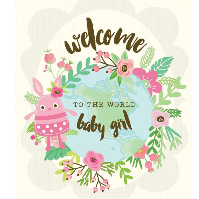 yellow bird paper greetings - welcome to the world baby girl card