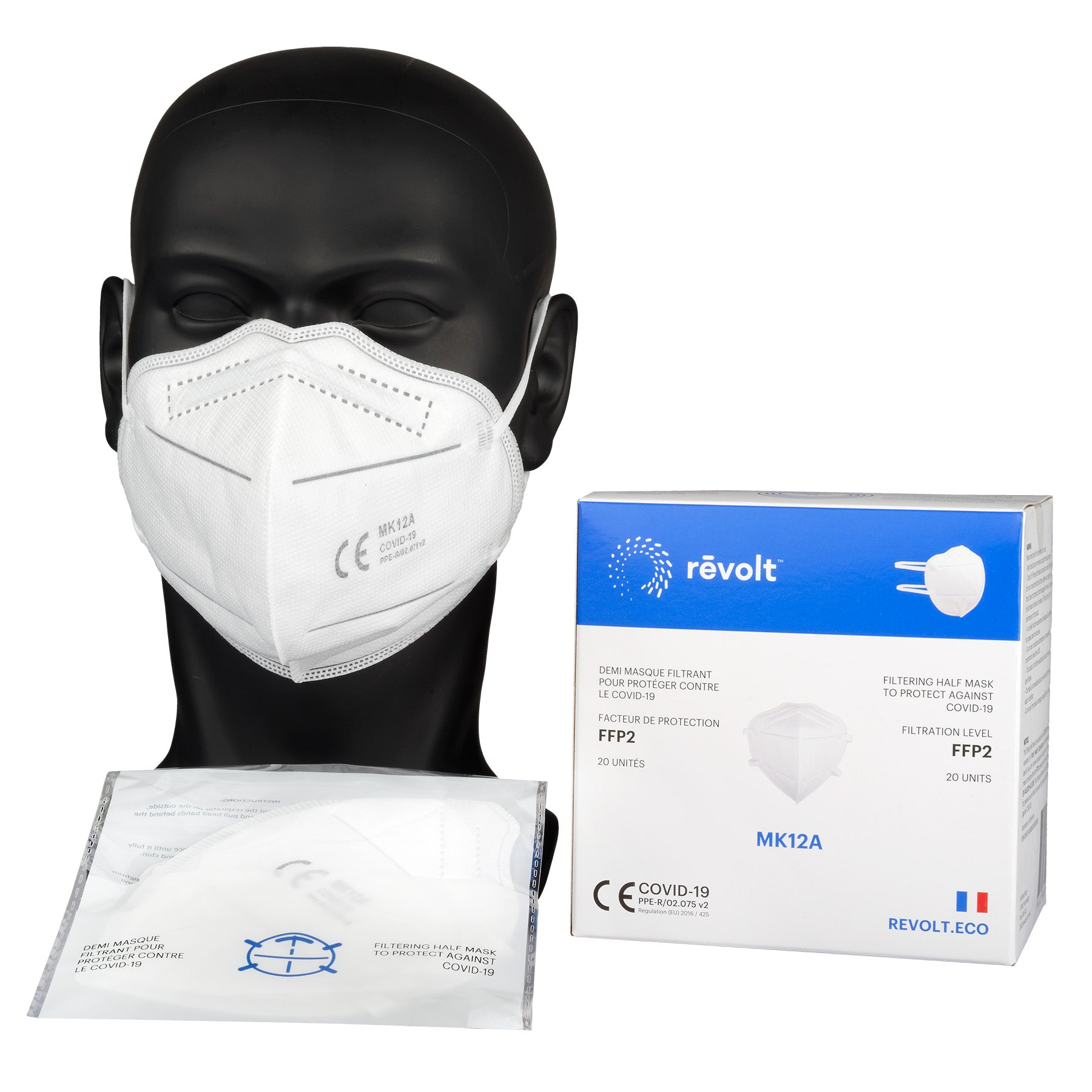20 folded protective masks - headband