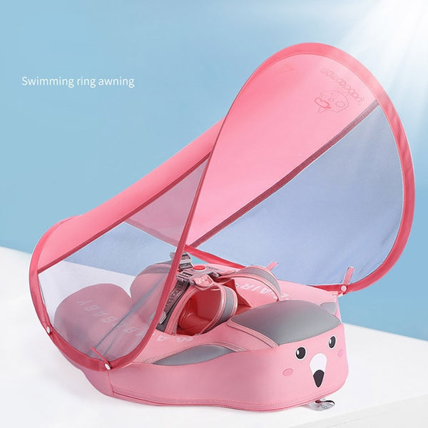 Summer Baby Swimming Float Ring Swim Trainer Non-inflatable Sunshade Kids Float Lying Swimming Pool
