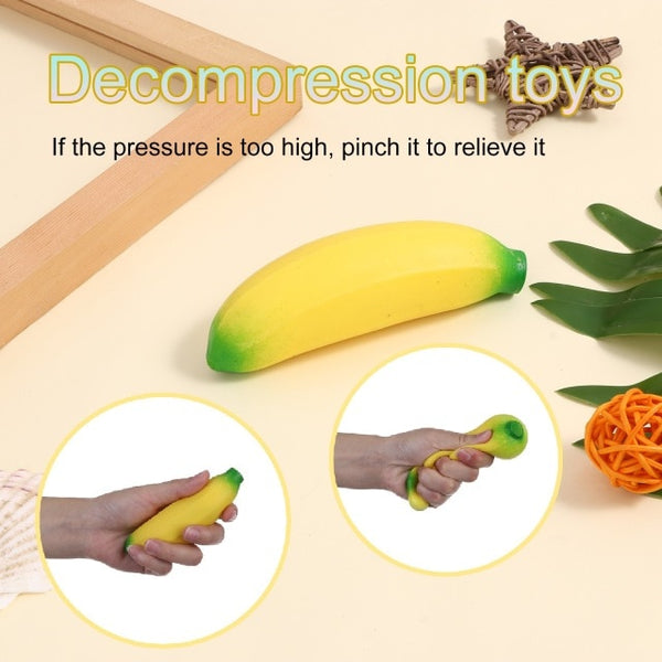 Spongy Banana Bead Stress Ball Toy Squeezable Soft Fruit Shape Sensory Child Fidgeting