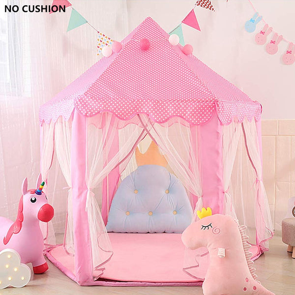 Children Princess Pink Castle Playhouse - Tents Portable Boys Girls - Garden Folding Play House -