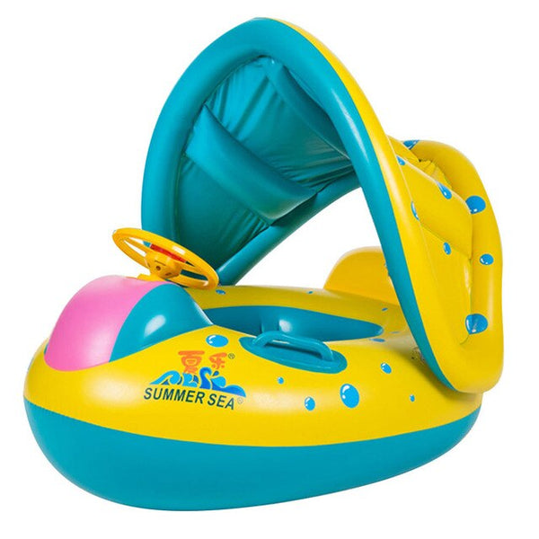 Inflatable Baby Swimming Sitting Ring - Infant Swimming Float Adjustable - Sunshade Seat Wheels