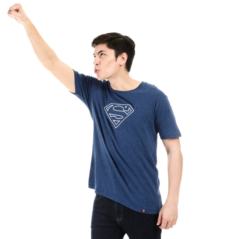 DC Comics Superman Boys Teens Embroidered Logo Tee in Royal Blue