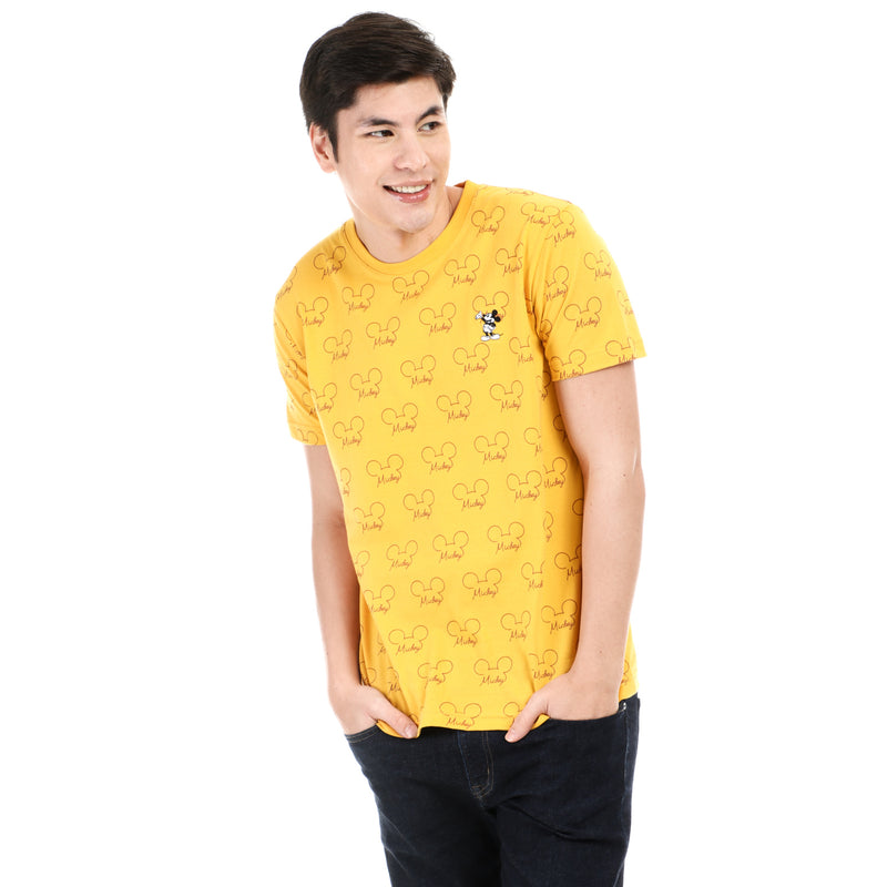 Disney Mickey Mouse Boys Teens Mickey Patch Tee in Yellow