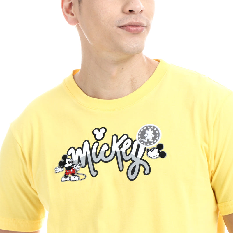 Disney Mickey Mouse Boys Teens Font Face Tee in Yellow