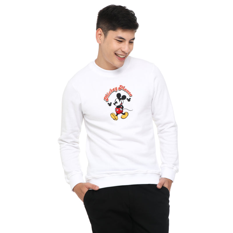 Disney Mickey Mouse Boys Teens' Strolling Mickey Sweater in White