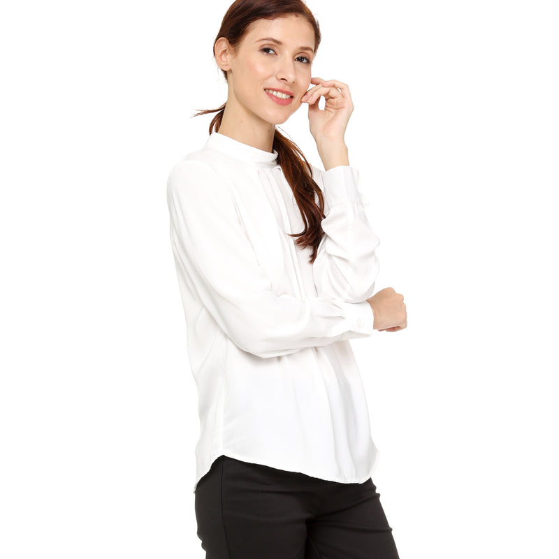 SM Woman Career Long Sleeves Mock Neck Blouse in White