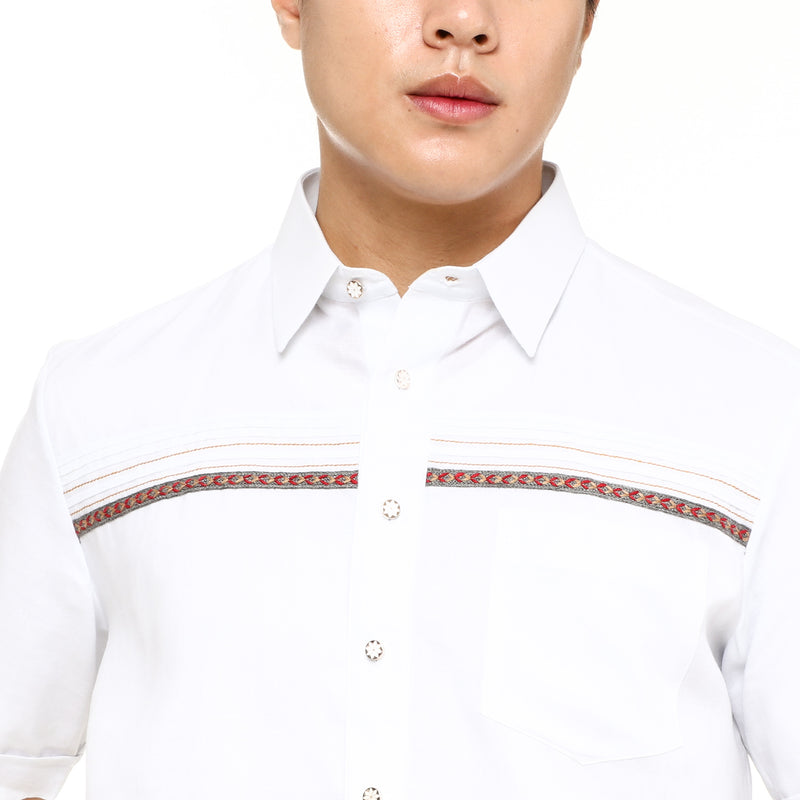 Onesimus Men's Edward Modern Barong in White