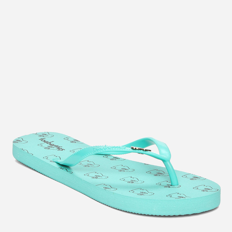 Toeberries Ladies' Happy Rainbow Flip-Flops in Green