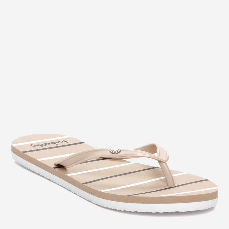 Toeberries Ladies' Pastel Striped Flip-flops in Mocha