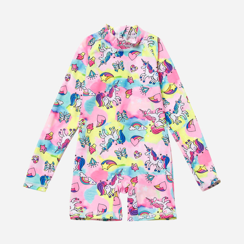 Sandbox Toddler Girls' Allover Unicorn One-Piece Rash Guard