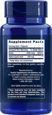 Super Alpha- Lipoic Acid with biotin 250 mg  60 caps