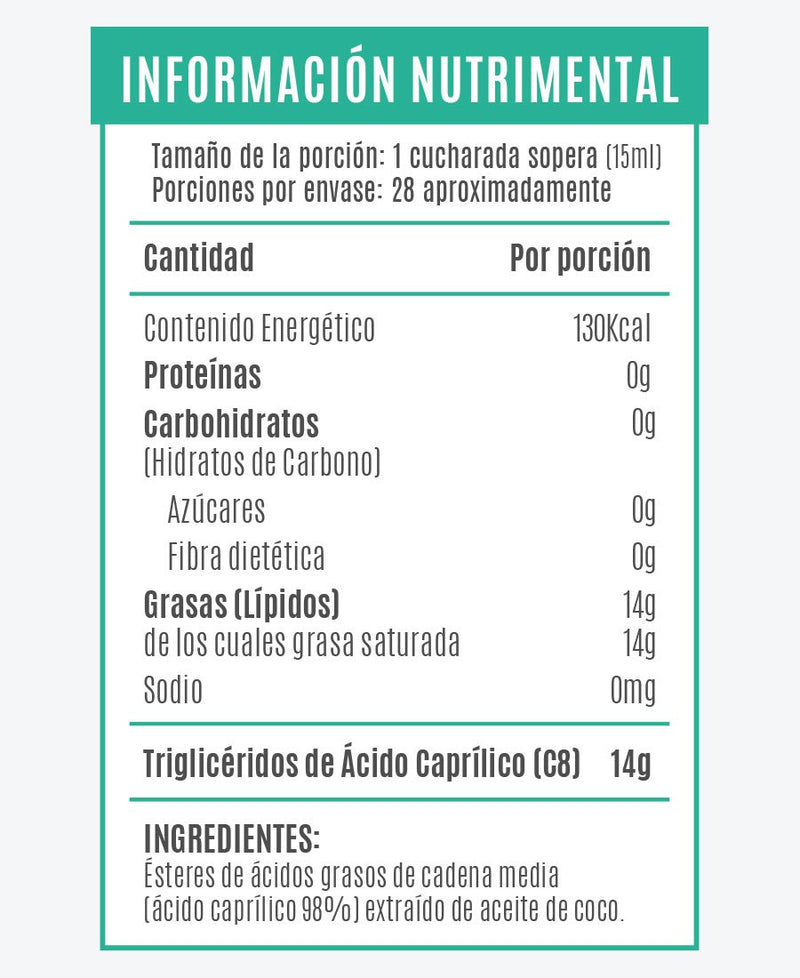 Mct Oil Acido caprílico C8 420 ML