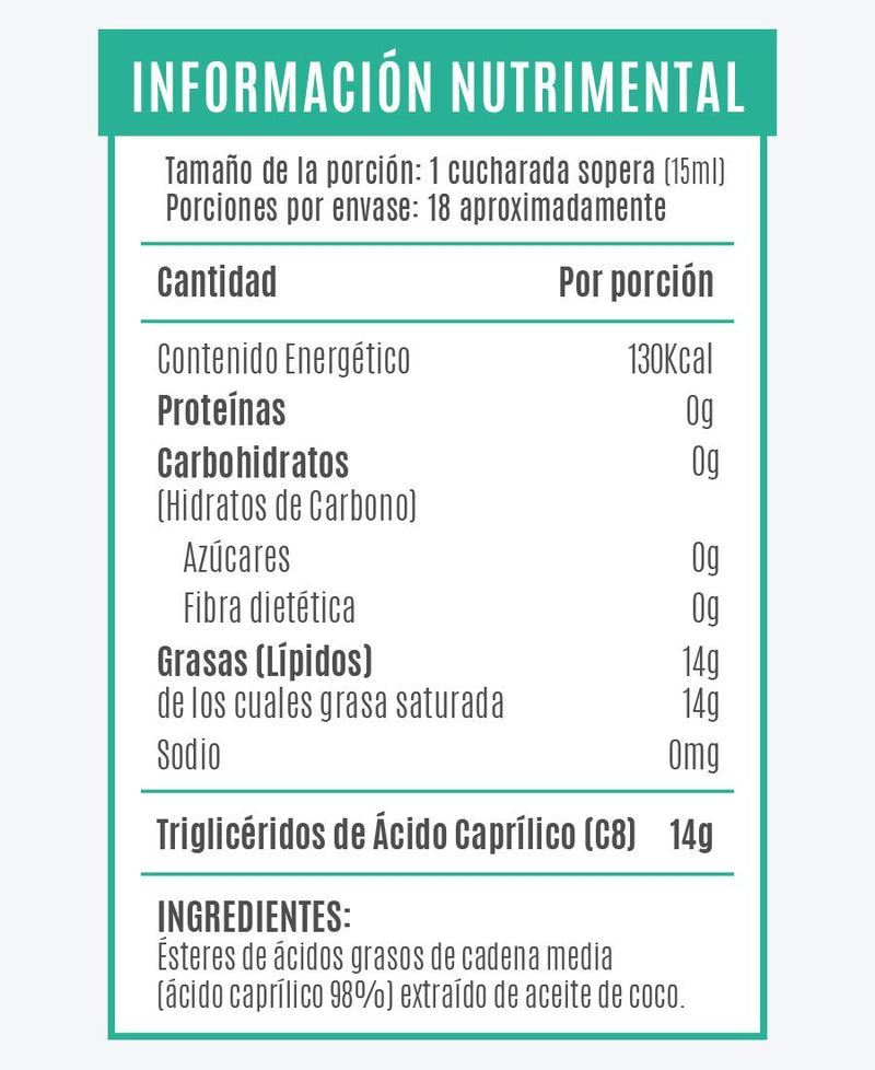 Mct Oil ácido caprílico C8 270 ML