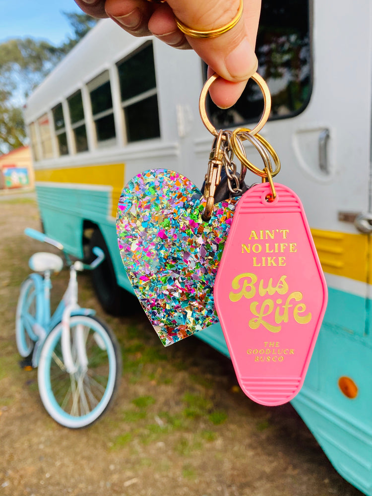 Bus Life Retro Motel Keychain