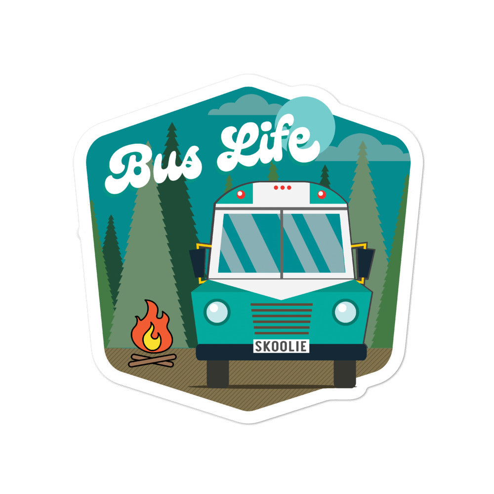 Bus Life in the Forest Sticker