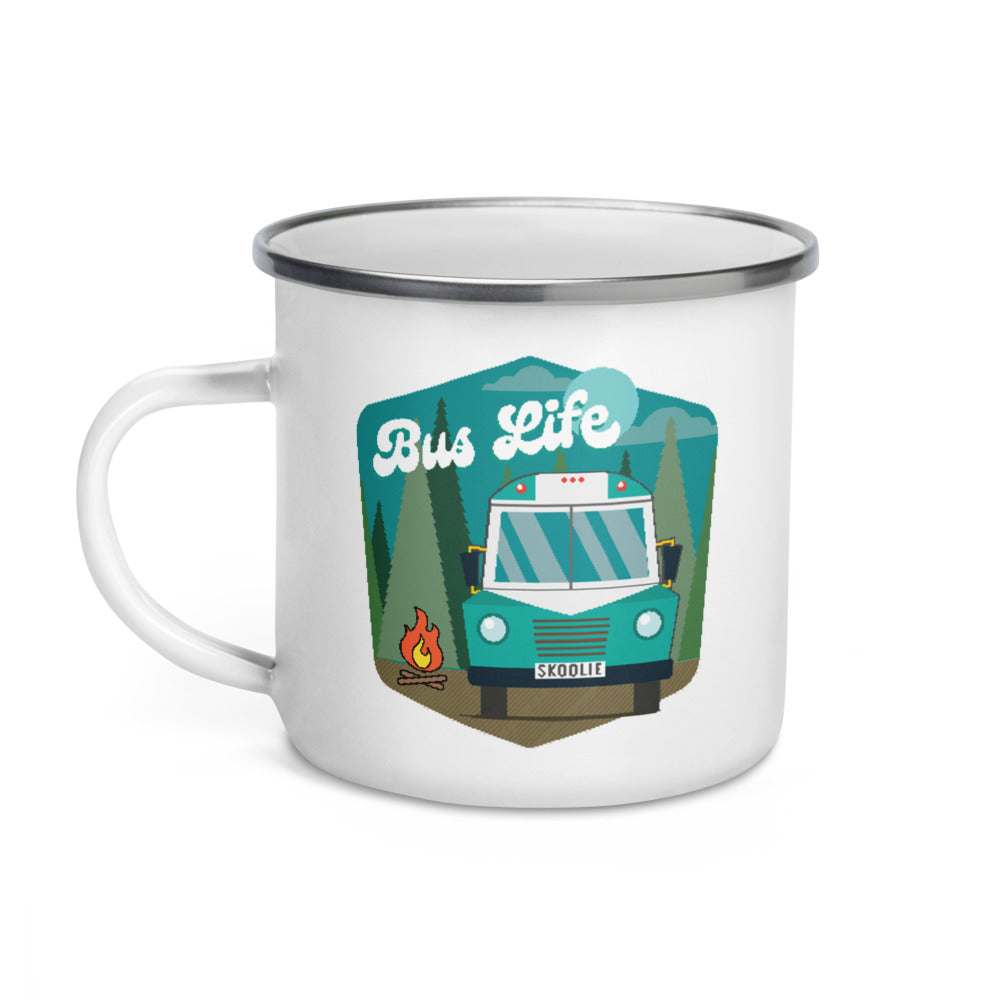 Bus Life in the Forest Enamel Mug