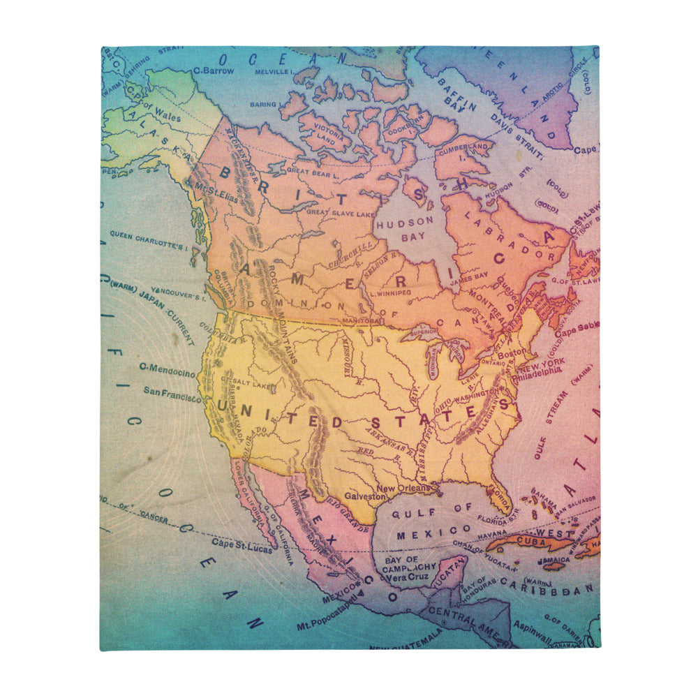 Colorful Map Throw Blanket